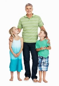 Mature man standing with his children standing on white background